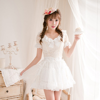 Princess Sweet Lolita Candy Rain Shirt V Neck Blouse Japanese Style Slim Short Sleeved Chiffon Slim