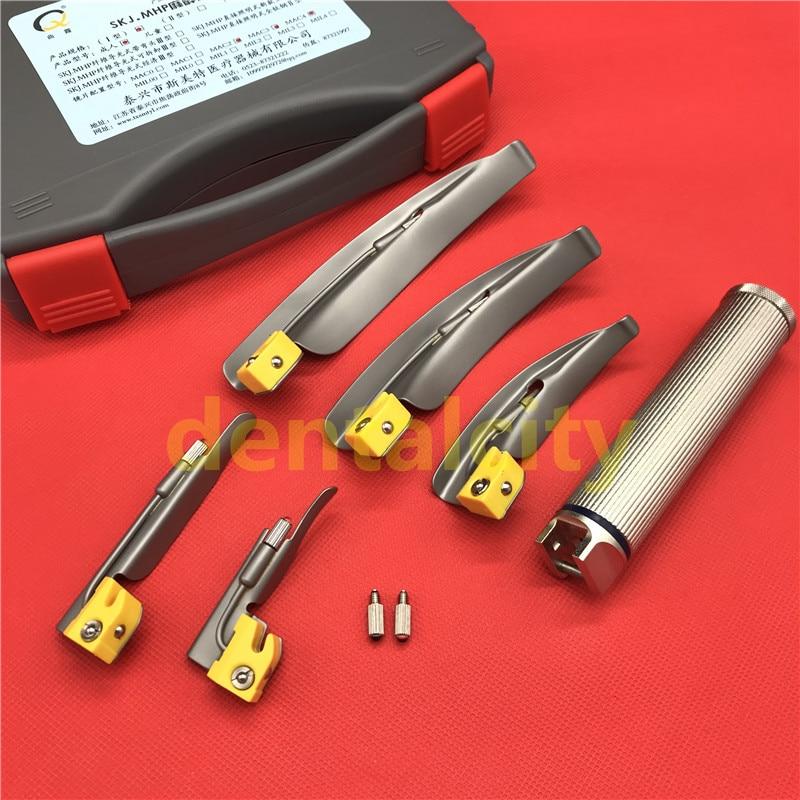 5pcs/Set Adult Anesthesia Laryngoscope Stainless Steel VET Throat Detection Tool Hot Sale