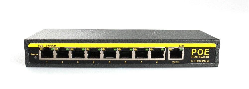 cctv camera9-Port 10/100 Mbps POE Switch 100m distance DC48V or DC 52V 2.3A power output IEEE 802.3af cctv 4 port 10 100m poe net switch hub power over ethernet poe