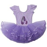 Retail 1 Pcs Dance Ballet Dress Free Shipping Girls Short Sleeve Leotard Ballet Tutu Skate Party