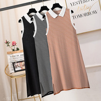 Women Summer Dress Plus Size 4XL Sleeveless Striped Ice Silk Dress Polo Collar Short Tank Dress Casual A Line Knit Dresses Girl