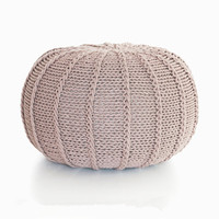 Cotton Craft Hand Knitted Cable Style Dori Pouf Floor Ottoman 100% Cotton Braid Cord Handmade & Hand Stitched Pouf Round
