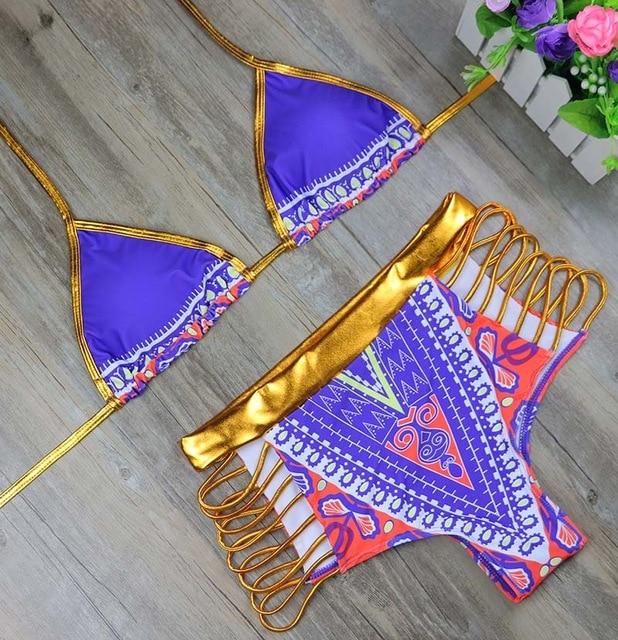 7ae26a0e1db06 US $10.45 43% OFF|Blauen Afrikanischen Print Strappy Bikini Push Up  Neckholder Gepolsterte Bikini Hohe Taille Gold Bademode Sommer Badeanzug ...