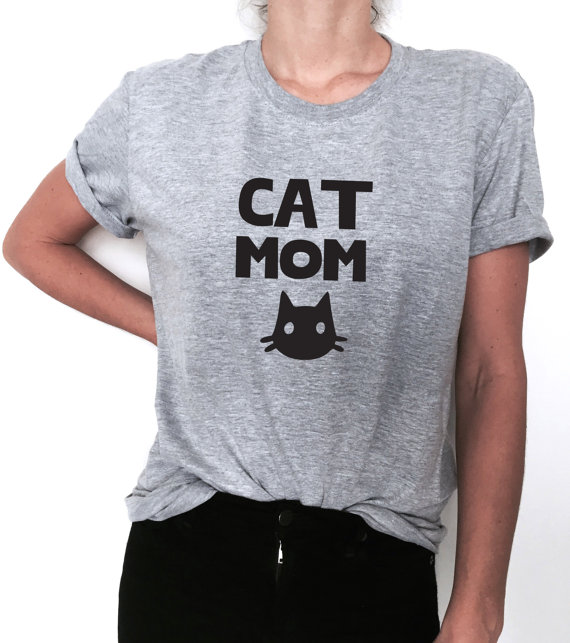 Cat mom print women tshirt cotton casual funny t shirt for for Drop ship t shirt printing