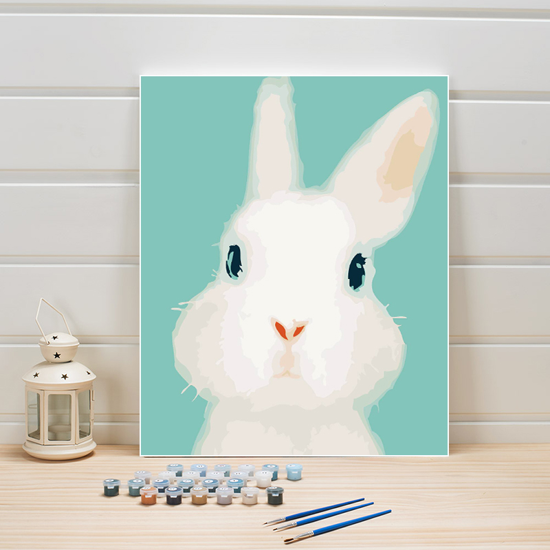 Paint Pictures By Numbers Rabbit Animal Cartoon Arts On Canvas Acrylic Coloring Oil Painting For Kids Room Wall Decoration Kits