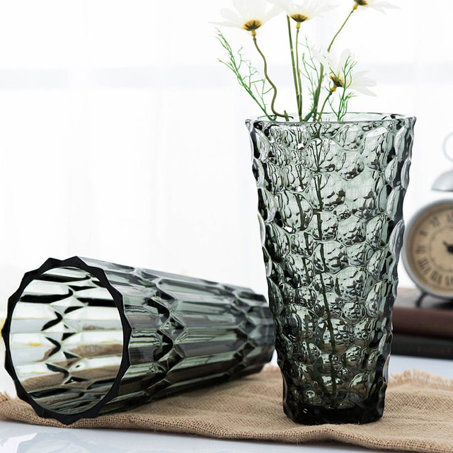 V Shape Heavy Grey Glass Vase Beads Flower Arranging Device Modern