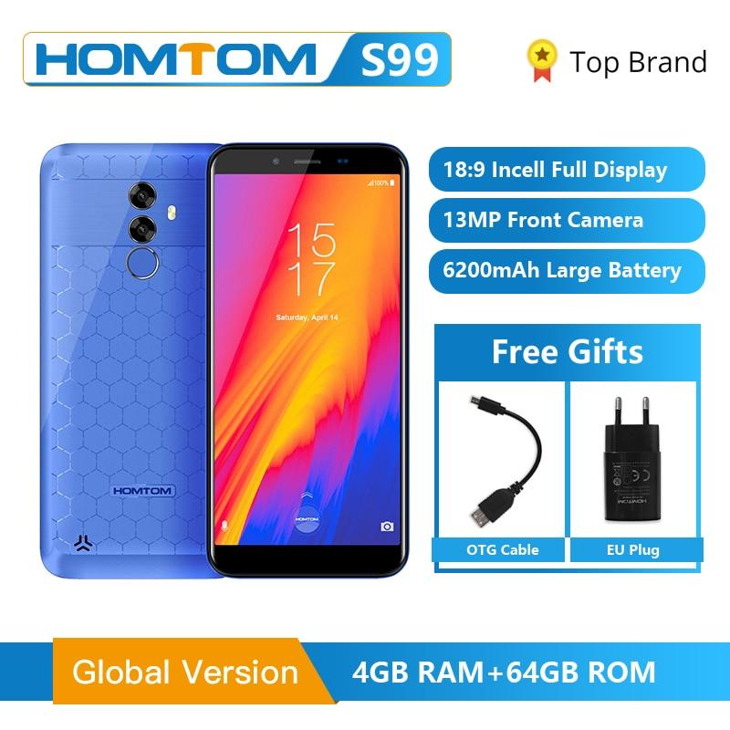 HOMTOM S99 Face ID 6200mAh 4GB 64GB Smartphone 5.5-Inch Bezel-less 21+2MP Dual Rear Cameras Android 8.0 Fingerprint Mobile PhoneHOMTOM S99 Face ID 6200mAh 4GB 64GB Smartphone 5.5-Inch Bezel-less 21+2MP Dual Rear Cameras Android 8.0 Fingerprint Mobile Phone