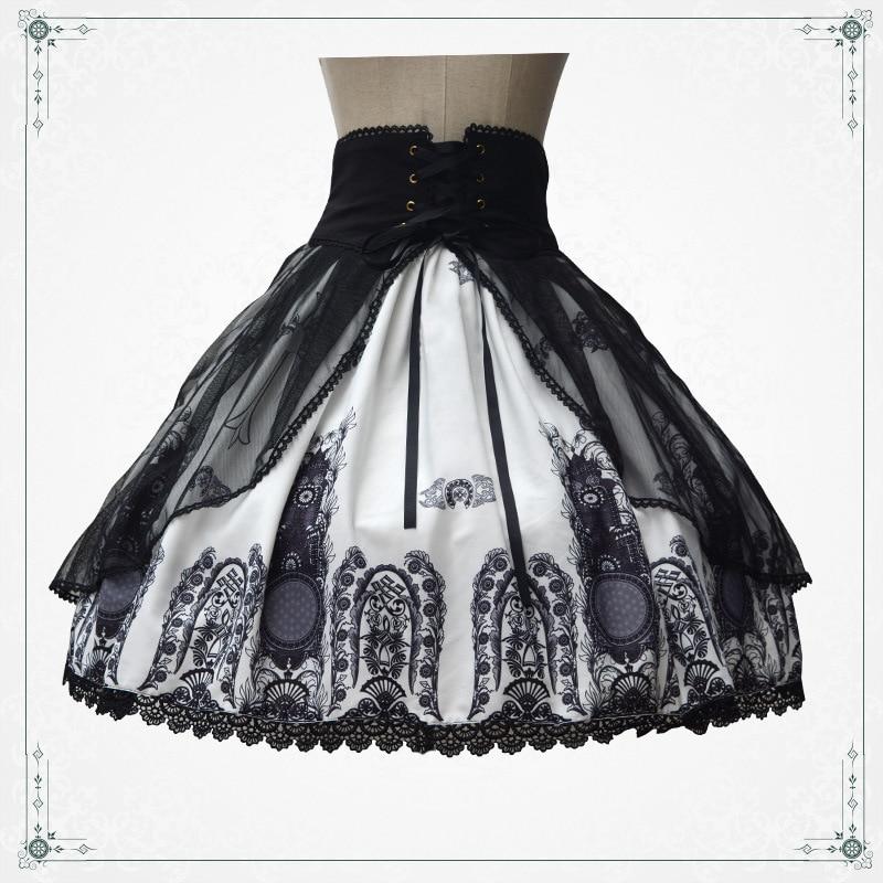 Estilo La Gótica Impreso Retro Encaje Cintura Falda Hasta Corta Con Punk Lolita Iglesia rArxwPFq