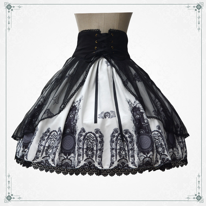 cd01ce43ad9 Retro Style Church Printed Punk Lolita Skirt Short Gothic Skirt with Lace up  Waist