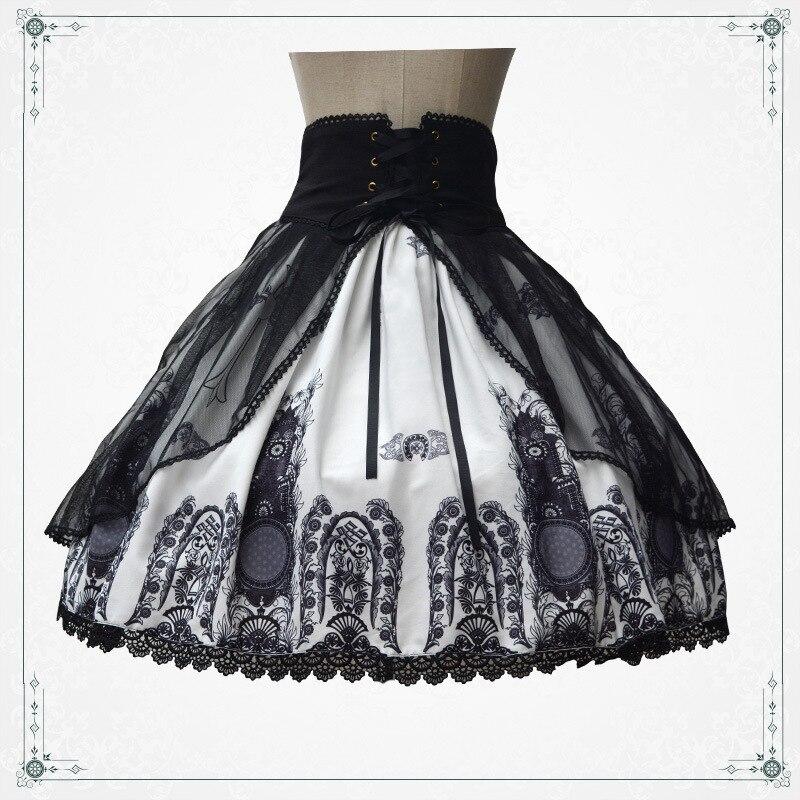 Style rétro L'église Imprimé Punk Lolita Jupe Courte Jupe Gothique avec lacets Taille