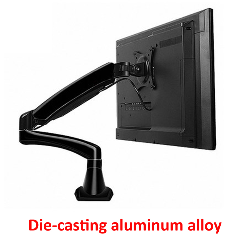 En aluminium 27 pouces 2-7 kg 360 rotation pince air presse vérin à gaz lcd tv table de montage moniteur ressort à gaz écran support de bureau support