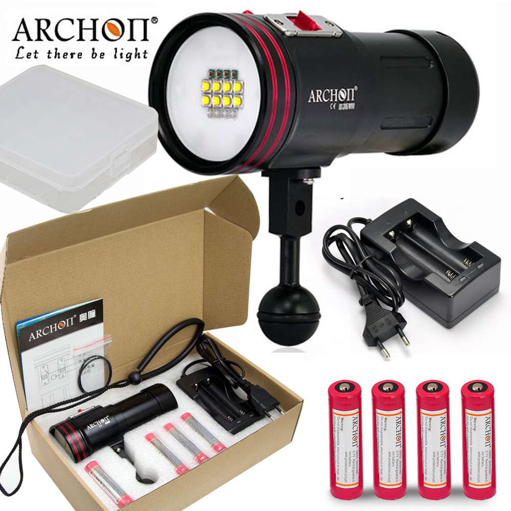 ARCHON W42VR D36VR Diving light 8* CREE XM-L2 LED max 5200 lumen uv/ red light 100 meter underwater Spot Light with Battery 100% original archon d37vp update d36vr w42vr u2 uv multifunction underwater photographing sea diving flashlight video light