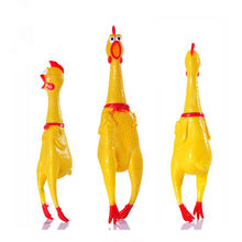 1pc 41cm Big size Rubber Screaming Chicken Squawking Shrilling Chicken Fun Novelty Squeeze Anti stress Toy as Gift Tease dog toy(China)