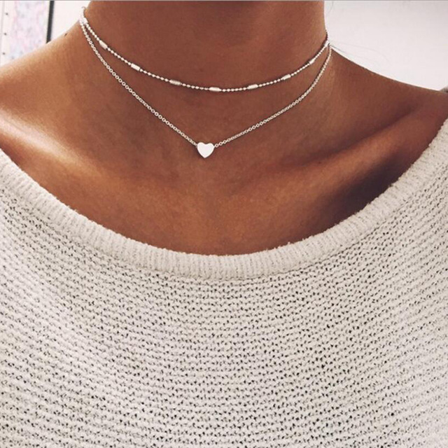 3aeb15c17050 ZRHUA Tiny Heart Choker Necklace for Women gold Silver Chain Smalll Love  Necklace Pendant on neck Bohemian Chocker Necklace