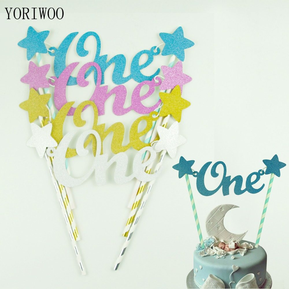 Creative Converting 1st Birthday Boy Cake Topper Blue: YORIWOO Creative Baby 1st Birthday Blue Cake Topper One