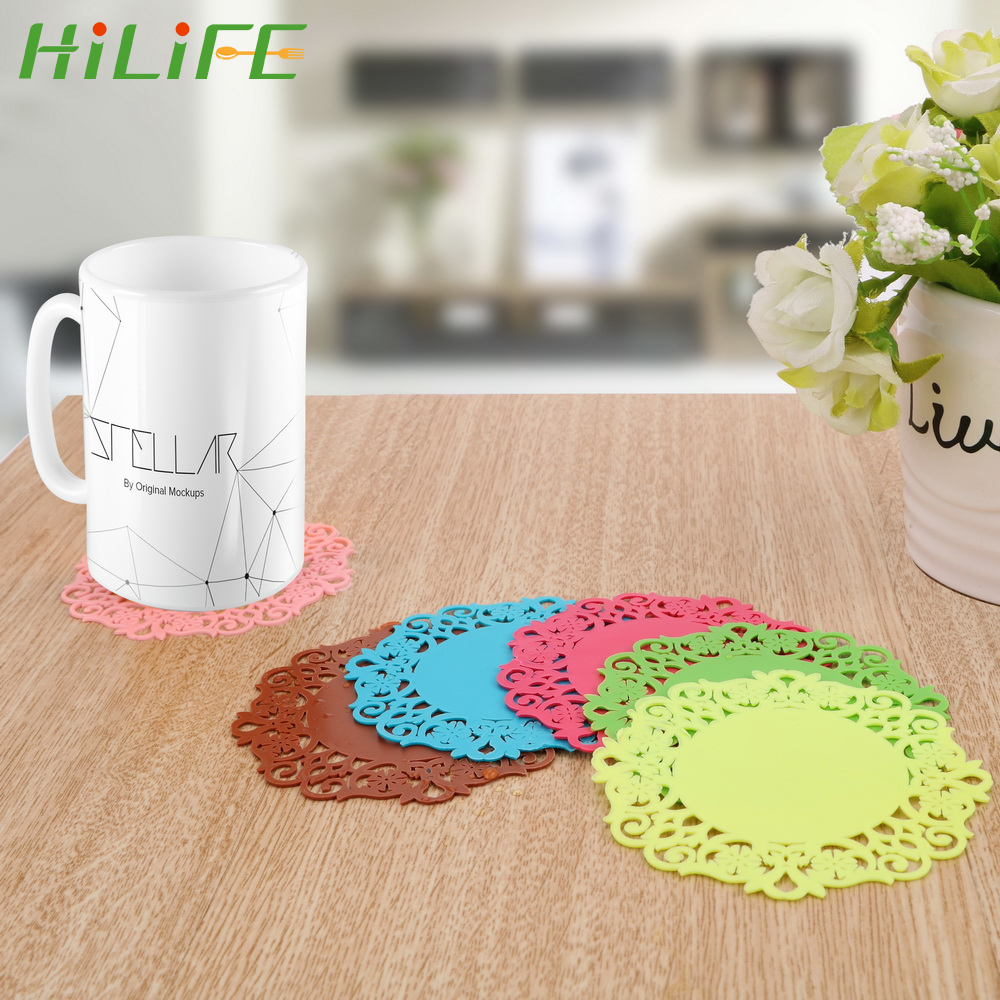 HILIFE Cup Mats Table Placemat Kitchen Accessories Lace Flower Hollow Doilies Anti-slip Silicone Coaster Coffee Tea Mat Pad