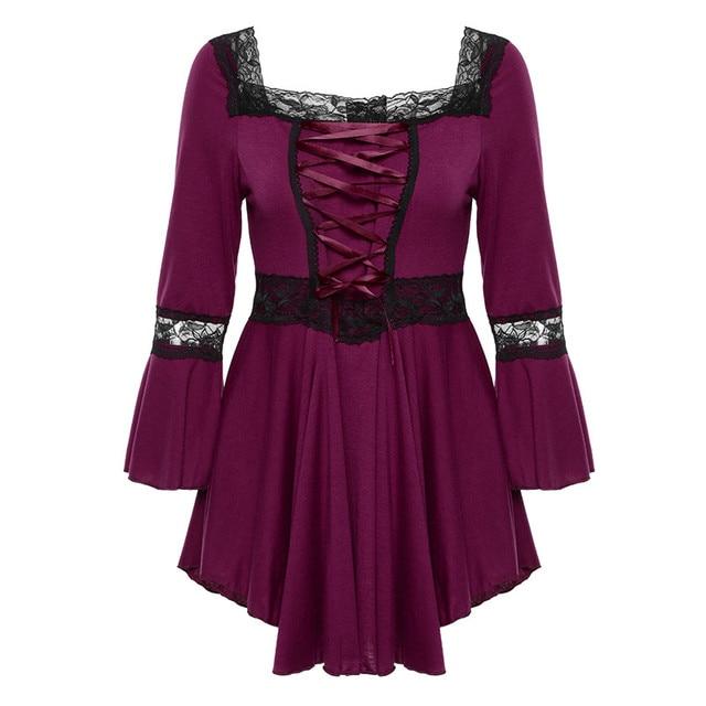 Retro Vintage Ladies Patchwork Lace Dress 2018 Summer Plus Size Ruffle Dresses For Women 4xl 5xl Gothic Party Dress Robes Femme 2