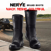 Brand NERVE Waterproof Leather Motorcycle Racing Mid-Calf Boots Men MOTO/Motocross Black Botas Motociclista Shoes