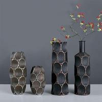 1Pc Nordic Retro Creative Vase Crafts Flower Vase Solid Color Retro Decorative Resin Plant Vases Table Vases For Home Decor