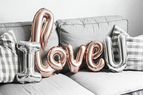 Love Script Foil Balloon Rose Gold Birthday Balloon Love