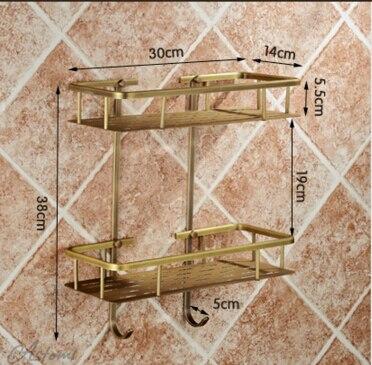 Bronze insgesamt massivem messing Wand Bad doppelhebel Eckregal Bad Shampoo Regal Bad Dusche Regal Seifenhalter - 3