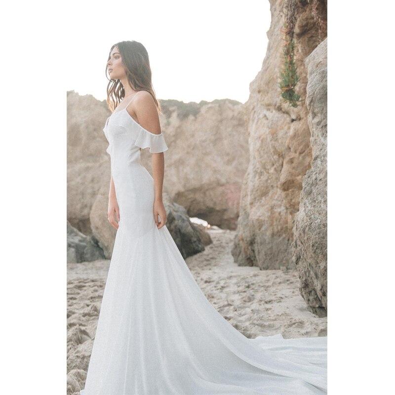 Eightree Spaghetti Strap Wedding Dress Beach Mermaid Bridal Dress Sexy White Chiffon Wedding Gowns Vestido De Noiva New Design in Wedding Dresses from Weddings Events