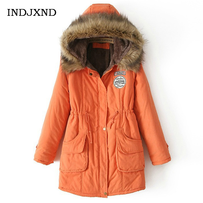 INDJXND Winter Woman Jacket Women Parkas Casual Clothing Thick Outwear Hooded Coat Imitation Femme Fox Fur Coats Manteau Loose winter jacket women pregnant oversized coats thick long parka hooded loose outwear cotton winter coat women manteau femme c3811