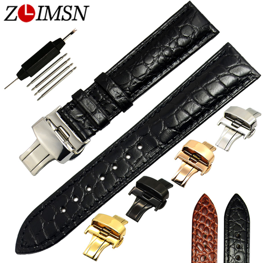 ZLIMSN Genuine Leather Watch Band 18 20mm Strap Butterfly Buckle Black Brown Watches Accessories Relogio Masculino zlimsn alligator leather watch bands strap watches accessories 20 22mm black brown genuine leather watchbands butterfly buckle