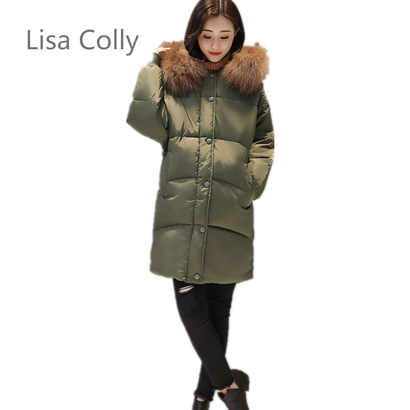 Lisa Colly Fashion Autumn Winter Jacket Women Coat Female Long Down Jacket Women Parkas Casual Jackets lisa corti сандалии