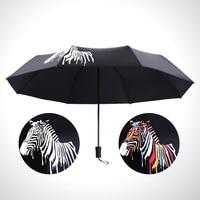 Fashion Strong Zebra Color Change Three Folding Compact Sunny Umbrella Rain Women Ladies Female Anti UV