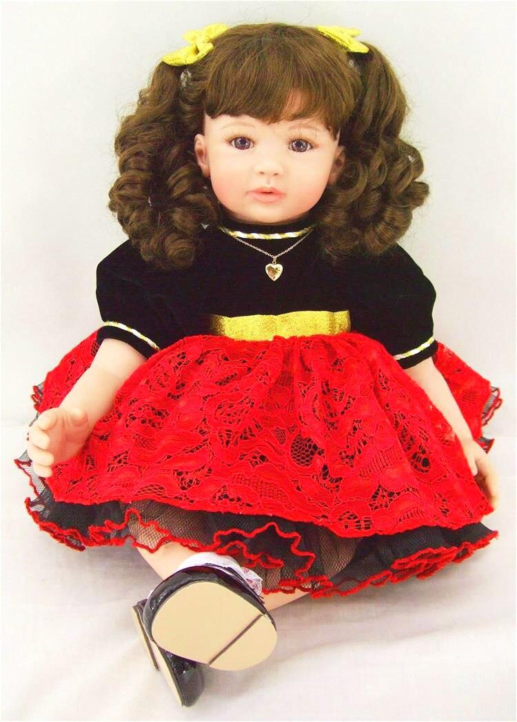 58 cm Boutique bouclé princesse poupée souple Silicone Reborn poupée filles bébé Playmate cadeau bébé vivant jouets pour Bouquets Bebe Reborn