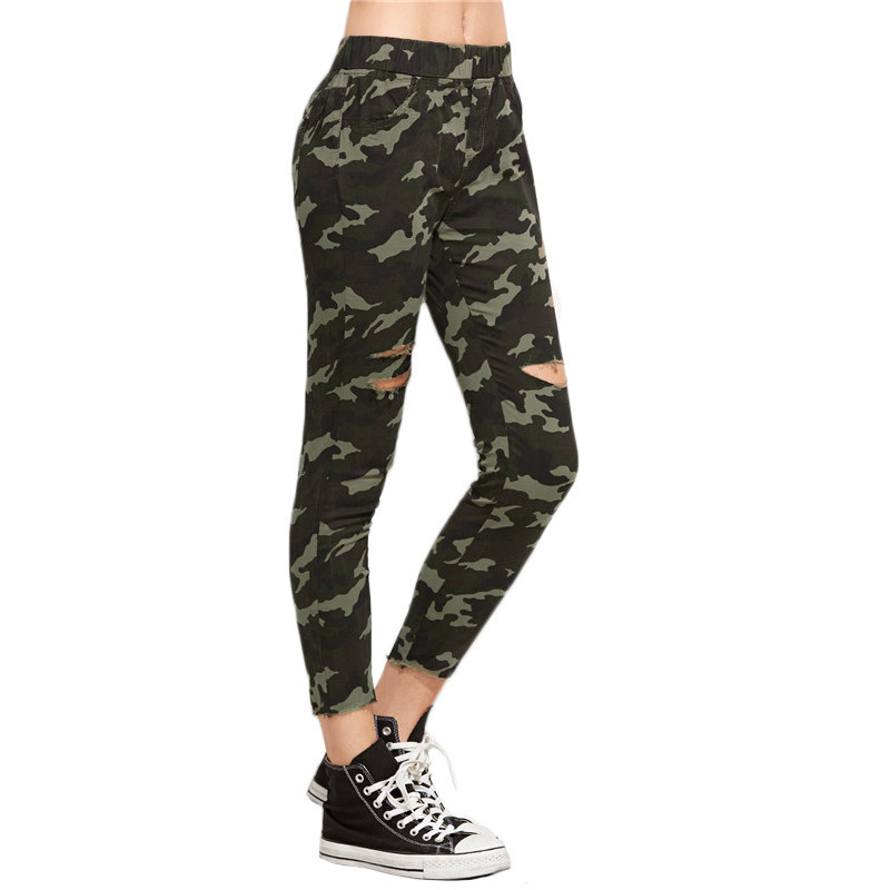52becf3a81f88c ROMWE Camouflage Women Trousers Casual Women's Pants Elastic Waist ...