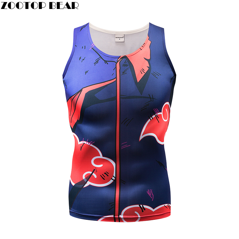 Naruto Tank Tops Men Vest Male singlet Anime Top&Tee Fitness Chinese Style Tight Bodybuilding ZOOTOP BEAR