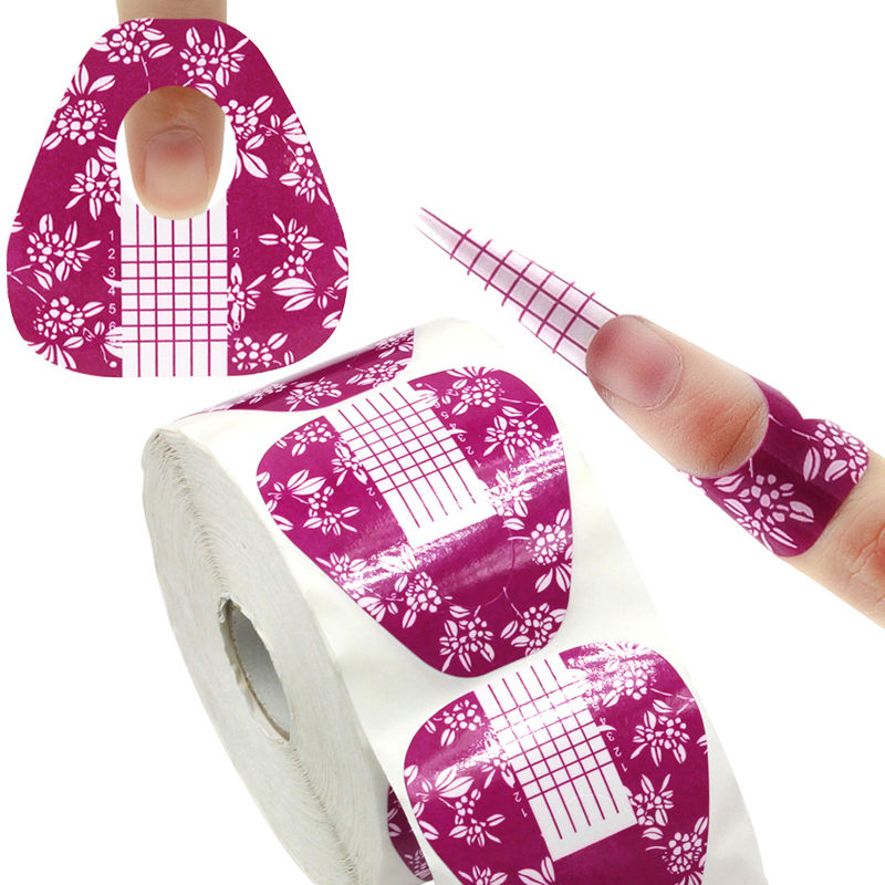 1 Roll 500 pcs Flower Horseshoe Shape Nail Extension Form Arylic UV Gel Nail Art Tools Nails Forms 2016 New Hot Sale 24 pcs hot sale golden rivet splicing nail art fake toe nails
