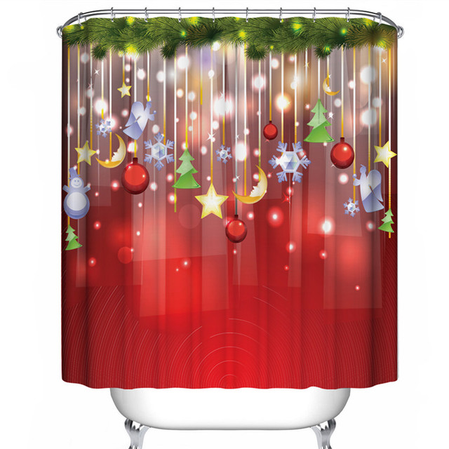 Red Series 1PCS 180180cm Christmas Shower Curtains 3d Digital Printing Mouldproof Waterproof Bath Curtain For The Bathroom