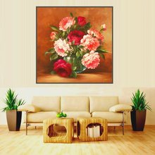Peony Flowers Home Decoration Poster and Print High Quality Oil Canvas Painting for Living Room Wall Art Office Artwork Red Pink