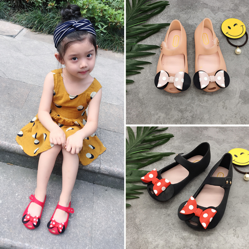 Mini Melissa Girls Jelly Sandals Mickey Bow Sommar Barn Mesh Hål Flickor Andas Jelly Shoes Girls Sandals Shoes 14-16.5CM