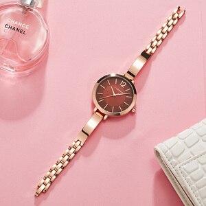 Image 3 - Curren Fashion Gold Vrouwen Horloges 9012 Roestvrij Staal Ultra Dunne Quartz Horloge Vrouw Romantische Klok Vrouwen Horloges Montre Femme