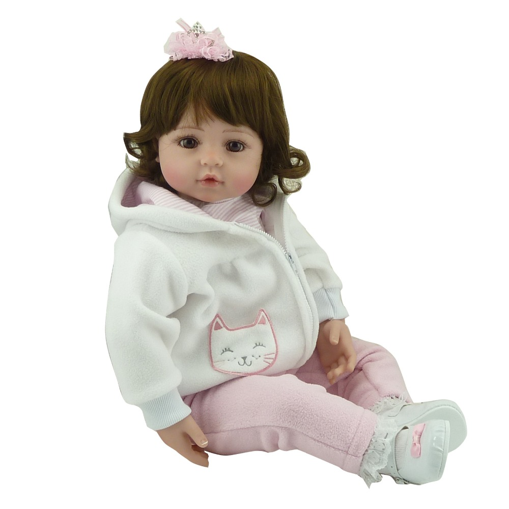 Handmade Adorable Soft Vinyl Silicone Reborn Toddler Princess Girl Baby Alive Doll Toys with Soft Cotton Body for Children Girls adorable soft cloth body silicone reborn toddler princess girl baby alive doll toys with strap denim skirts pink headband dolls