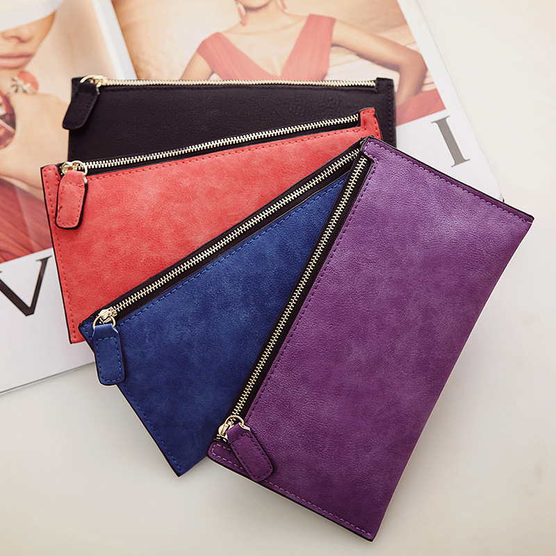 iMucci Women 39 s Purse Long Money Bags Simple Style Coin Purse Leather Thin Wallets Female Card Holder Solid Fashion Gift in Wallets from Luggage amp Bags