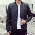 2016 spring new fashion motorcycle slim solid popular leather jacket free shipping high quality on discount