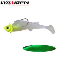 Leurre de pêche en caoutchouc souple avec tête plombée, appât artificiel lumineux avec queue en T, Wobbler, matériel de pêche, 90mm, 16.5g, 1 pièce
