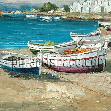 Boats by river Wholesale palette knife paintings,hand painted Oil Painting Blue Sea
