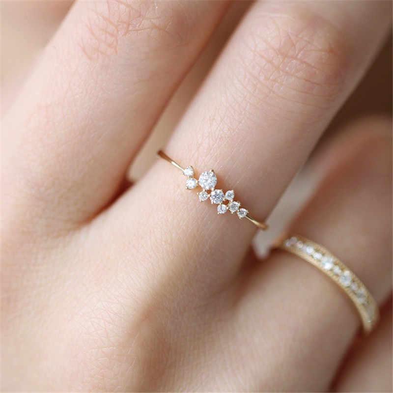 Modyle Dainty Zircon แหวนทองซ้อนกันได้แหวนหมั้นแต่งงานแฟชั่นสำหรับสตรีเครื่องประดับ Minimalist