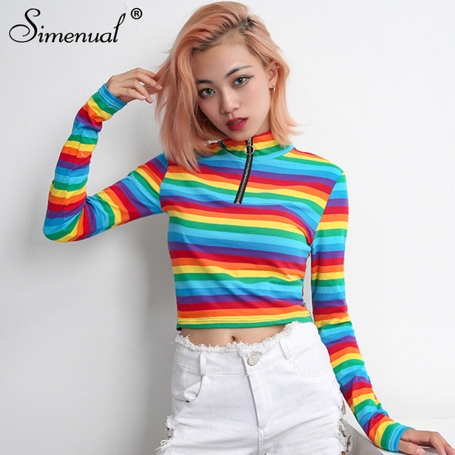 45c859f0d548cb Simenual Zipper turtlenecks women's t-shirts rainbow stripes long sleeve  crop top female t-shirt fashion autumn tee shirt femme