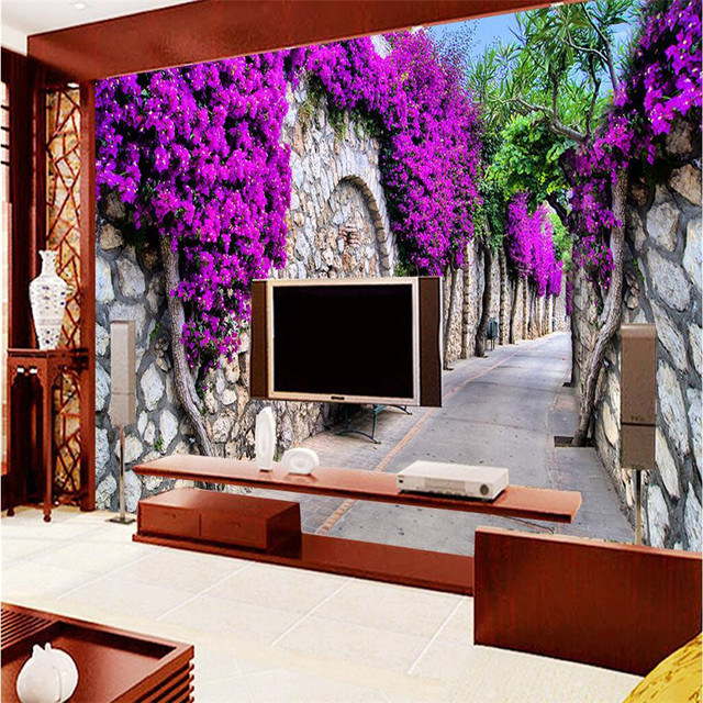 Large Painting Home Decor European Street Wisteria Hotel Background Modern Mural For Living Room Murales De