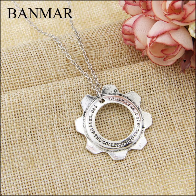 BANMAR Movies Game Jewelry Gears Of War Cog Tag Antique Silver Plated Pendant Statement Necklace Clothing Accessories For Men