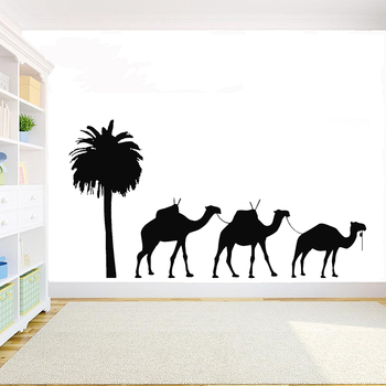 Desert Camels Wall Decal DIY Room decoration vinyl Animals sticker Home Decor For Childroom Teen room Bedroom Guestroom G1000 image