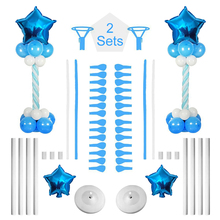 BTRUDI 2Sets 162cm Height blue pink Balloon Tower foil Star Column Stand Base and Pole for birthday Wedding Decoration