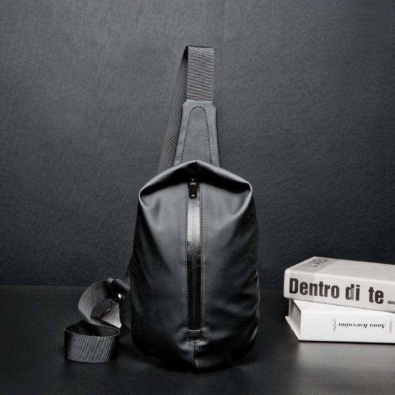 Men 39 s Chest Bag Men NylonChest Pack USB Backbag with Headphone Hole Functional Travel Organizer Male Sling Bag